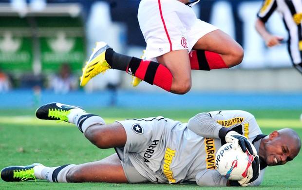 Jefferson na partida do Botafogo contra o Flamengo (Foto: Dhavid Normando / Photocamera)