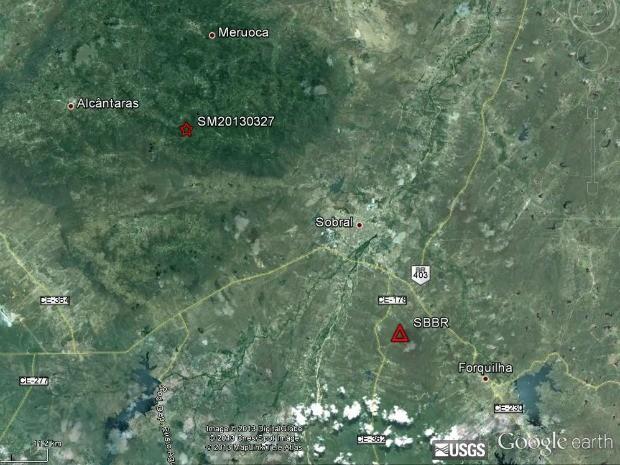 Tremor de terra atingiu cidades da região norte do Ceará (Foto: Google/Reprodução)