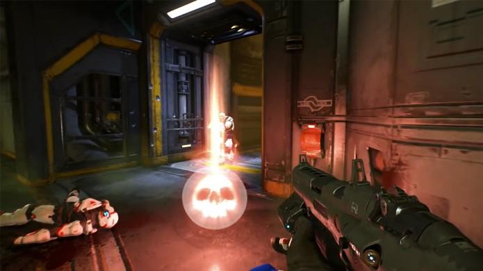 No modo multiplayer Soul Harvest de Doom é preciso pegar as almas deixadas pelos adversários mortos (Foto: Reprodução/YouTube)