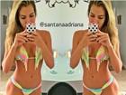 Ex-BBB Adriana aparece de biquíni em selfie em dose dupla