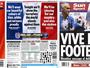 Jornais ingleses se pintam com cores da França antes de jogo entre rivais