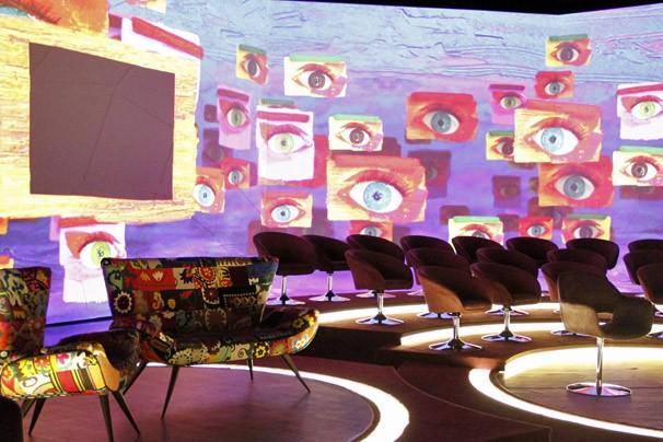 Cenário do programa Encontro com Fátima Bernardes, que usará tecnologia de video mapping (Foto: Nathalia Fernandes/TV Globo)