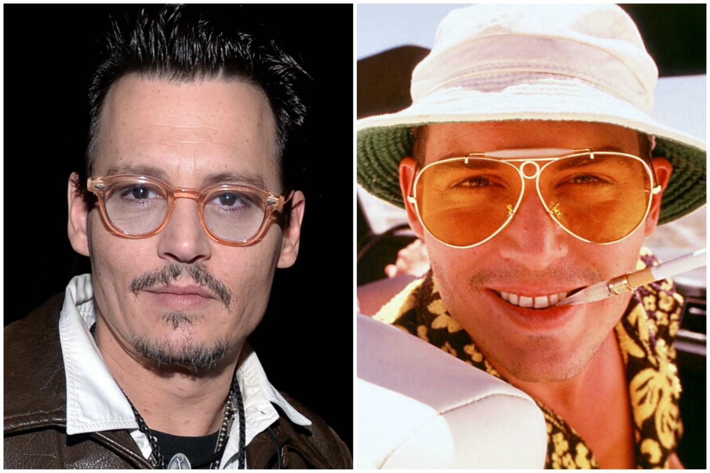 Johnny Depp em 'Medo e Delírio' (1998). (Foto: Getty Images e Reprodução)