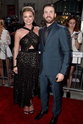 Emily VanCamp e Chris Evans em première em Los Angeles, nos Estados Unidos (Foto: Kevin Winter/ Getty Images/ AFP)