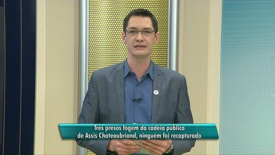 Polícia procura fugitivos da delegacia de Assis Chateaubriand, no Paraná