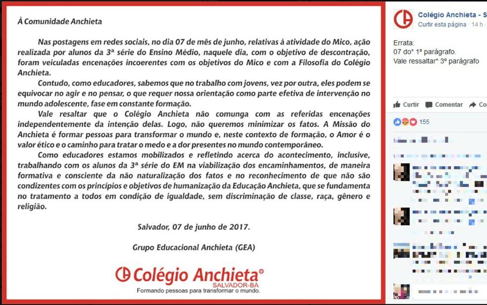 Nota do Colégio Anchieta (Foto: Reprodução / Facebook)