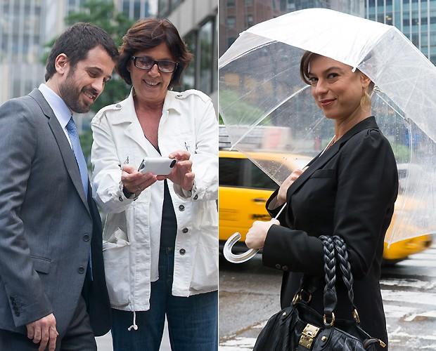 Eriberto Leão vê fotos das cenas no celular da produtora Mariza Leão (à esq.); Maria Paula (à dir.) (Foto: Mariana Vianna/Divulgação)
