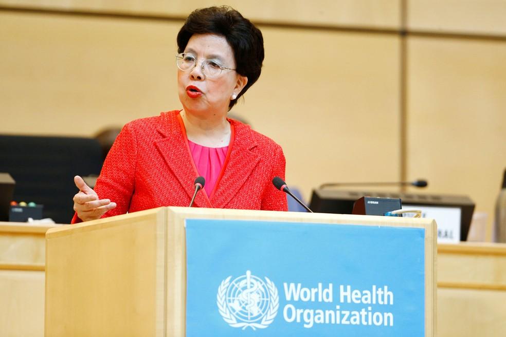 Diretora da OMS Margaret Chan fala nesta segunda-feira (22) (Foto: REUTERS/Pierre Albouy)