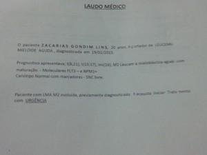Laudo falso fornecido por Zacarias para um amigo (Foto: Catarina Costa/G1)
