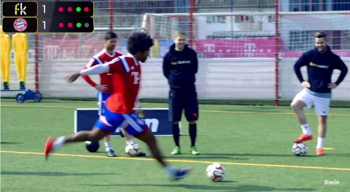 BLOG: Dante brilha ao lado de Xabi Alonso em desafio de cobranças de falta no Bayern