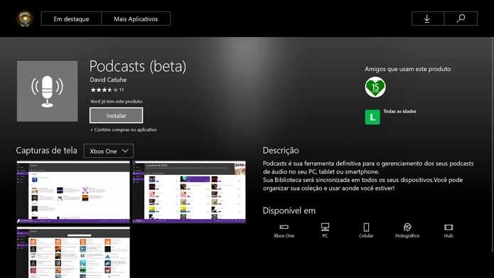 Baixe o app Podcasts no Xbox One (Foto: Reprodução/Murilo Molina)
