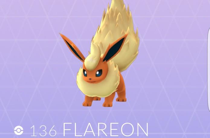 Flareon em Pokémon Go (Foto: Reprodução/Felipe Vinha)