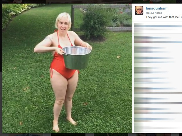 Lena Dunham participa do desafio do balde de gelo (Foto: Reprodução/Instagram)
