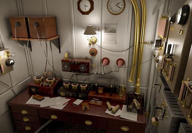 A sala Marconi, que no Titanic original servia para operações de telégrafo, foi reconstruída no Titanic II, mas apenas como atração para os passageiros (Foto: Divulgação/Blue Line)