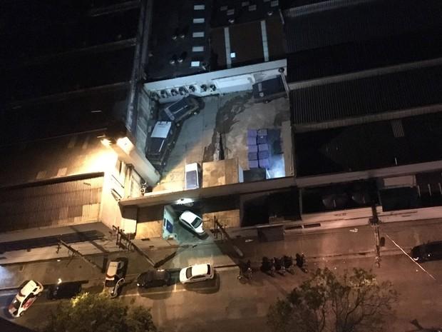 Sede da Protege em Santo André foi atacada por bandidos na madrugada desta quarta-feira (Foto: Paulo Matias/VC no G1)