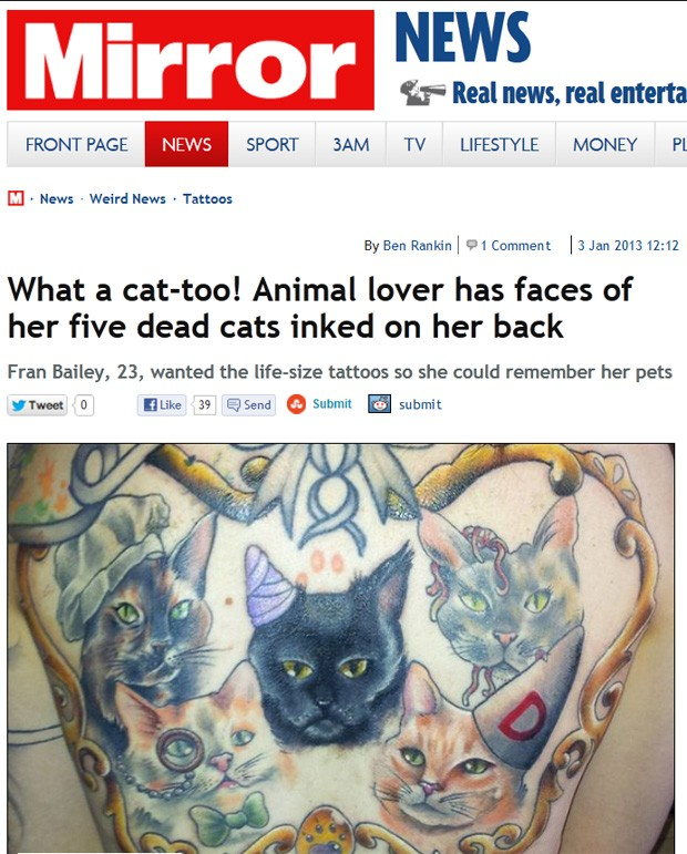 Fran homenageia animais com tatuagens em tamanho real (Foto: Reprodução/Metro)