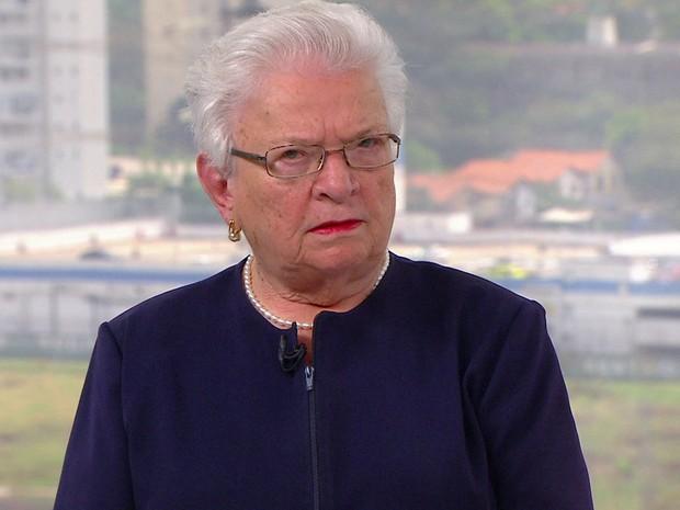 Luiza Erundina (PSOL) dá entrevista ao SPTV (Foto: TV Globo/Reprodução)