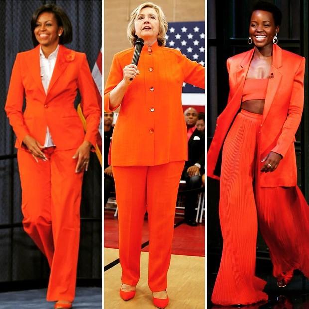 Michelle Obama, Hillary Clinton, Lupita Nyong'o: terninhos vermelhos (Foto: Reprodução)