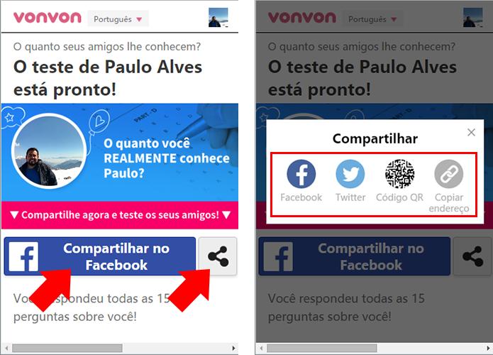 Compartilhe via Facebook, Twitter, código QR ou copie o link (Foto: Reprodução/Paulo Alves)