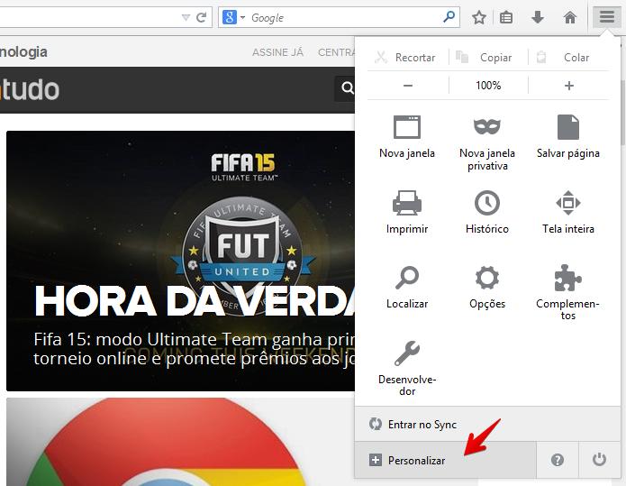 Acesse o menu do Firefox (Foto: Reprodução/Helito Bijora)
