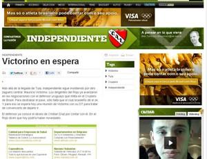 Imprensa argentina especula Victorino no Independiente (Foto: Arte / Globoesporte.com)