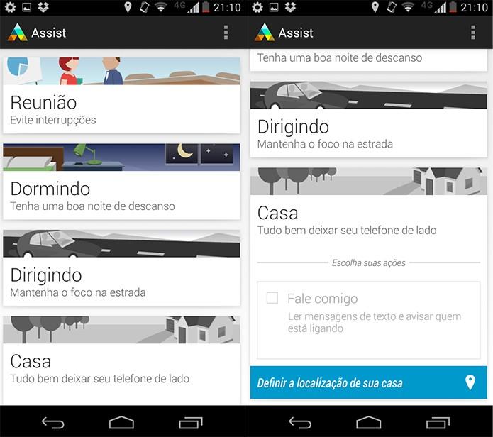 Motorola Assist tem perfil para casa, reunião, trânsito e até para a hora e dormir (Reprodução/Pedro Cardoso)
