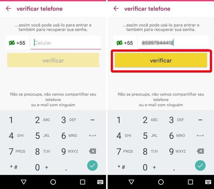 Validando o número do celular (Foto: Felipe Alencar/TechTudo)
