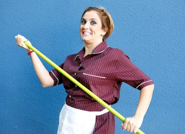 Bruna Campello se diverte nos bastidores do Domingão (Foto: Ellen Soares/Gshow)