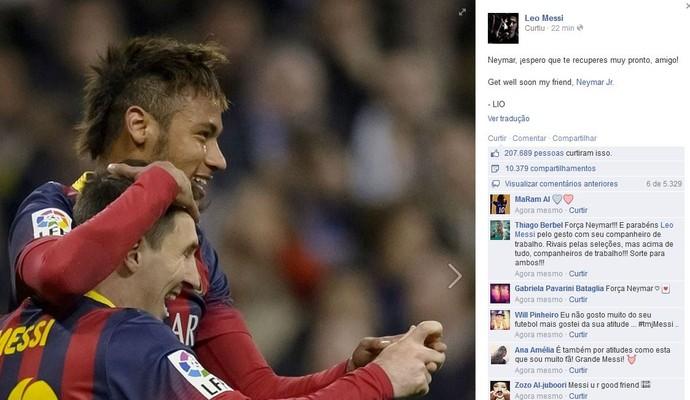 Messi envia mensagem para Neymar após a lesão do jogador brasileiro (Foto: Reprodução/Facebook)