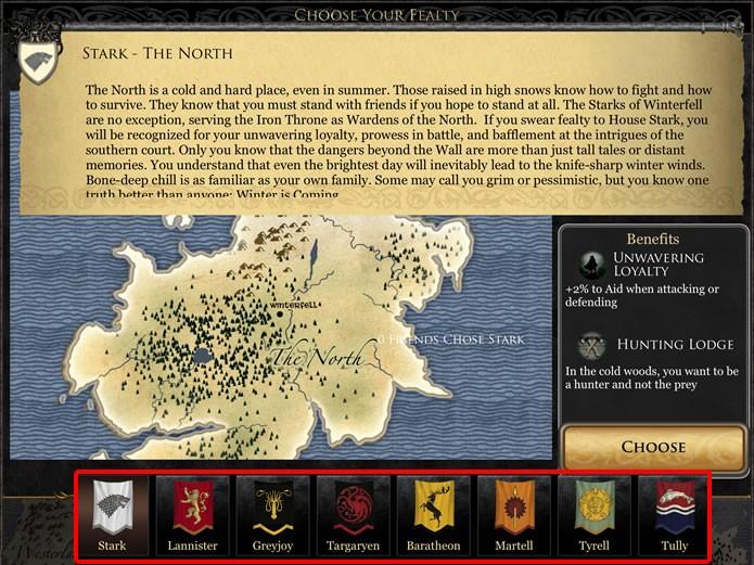 Quando Game of Thrones Ascent iniciar, o jogador deverá escolher junto a qual das principais casas de Westeros estará a sua lealdade (Foto: Reprodução/Daniel Ribeiro)
