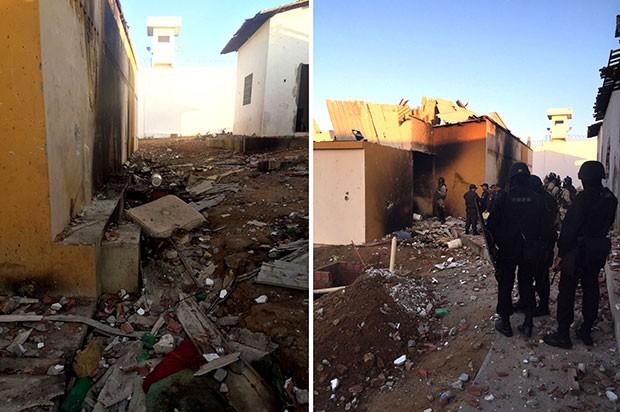 Controle da penitenciária foi retomado no início da manhã, após intervenção do Batalhão de Choque da PM e BOPE (Foto: Divulgação/Polícia Militar)