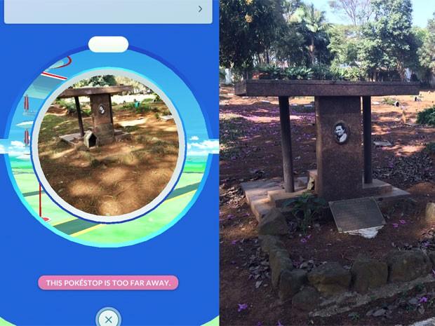 Túmulo do cemitério Campo Grande vira loja virtual em Pokémon Go (Foto: Reprodução: Pokémon Go/Will Soares/G1)