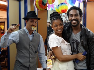 Rodrigo Andrare, Heloisa Jorge e Jhe Oliveira entraram na festa! (Foto: Gabriela / TV Globo)