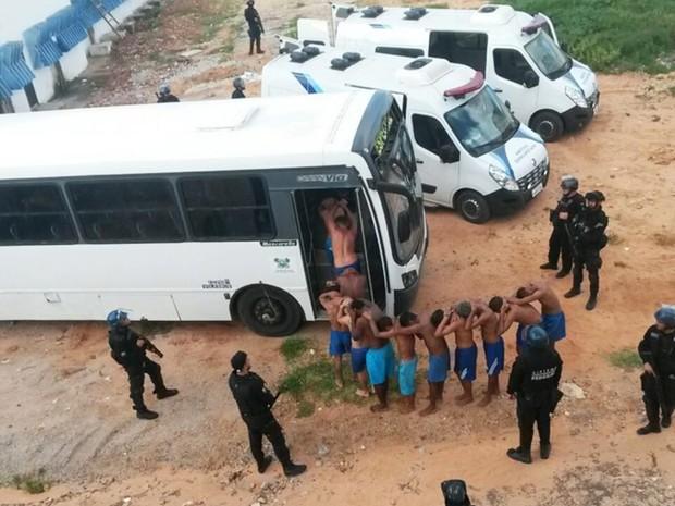 Presos de Alcaçuz foram transferidos para o presídio Rogério Coutinho Madruga (Foto: Sejuc/Divulgação)