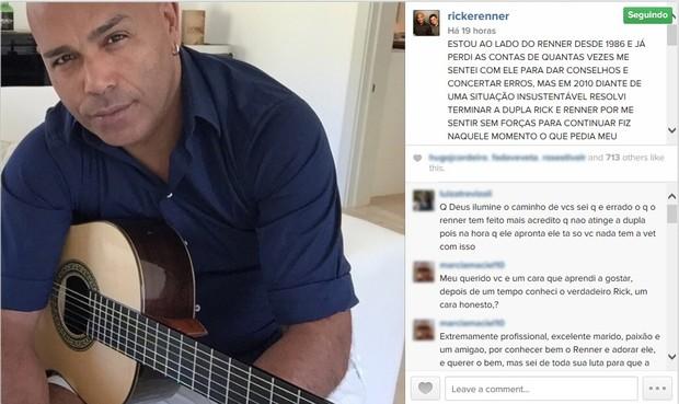 Rick anuncia fim da dupla (Foto: Instagram / Reprodução)