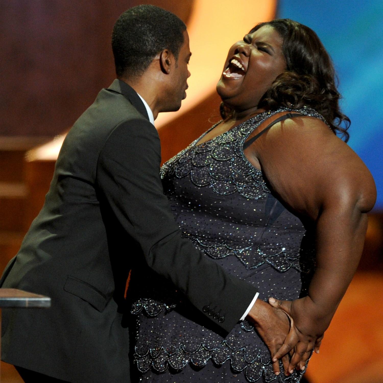 Os atores Chris Rock e Gabourey Sidibe ('Preciosa — Uma História de Esperança') no NAACP Image Awards 2010. (Foto: Getty Images)