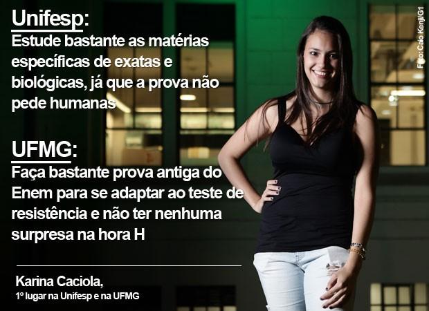 Karina Caciola dá dicas de vestibular para quem quer fazer faculdade na Unifesp e na UFMG (Foto: Caio Kenji/G1)