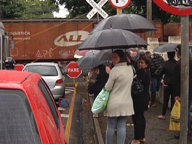 Trens no perímetro urbano de Rio Preto também trazem congestionamentos (Foto: Reprodução / TV Tem)