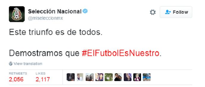 Twitter México Estados Unidos1 (Foto: Reprodução/Twitter Seleccion Mexico)