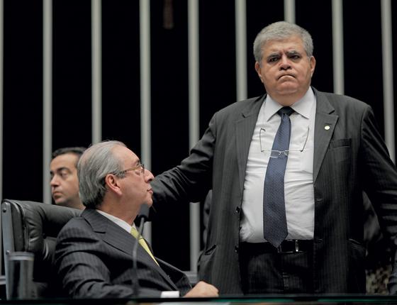 O ex-presidente da Câmara Eduardo Cunha,e Marun.Cunha não retribuiu o carinho do defensor (Foto:  Wendel Lopes /PMDB)