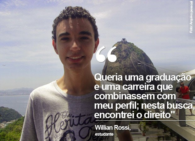 Willian Rossi foi aprovado na USP, Unesp, UnB e FGV no curso de direito (Foto: Arquivo pessoal/Willian Rossi)