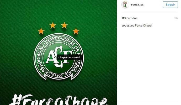 Sousa lamenta a queda do avião da Chapecoense (Foto: Reprodução / Instagram)