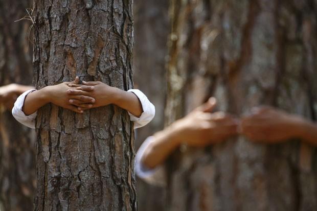 Por recorde, mais de 2 mil abraçaram árvores durante dois minutos em Katmandu, no Nepal (Foto: Navesh Chitrakar/Reuters)