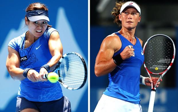 Samantha Stosur e Na Li tênis montagem (Foto: Editoria de Arte / Globoesporte.com)