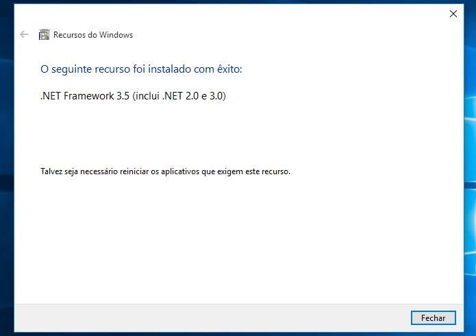 Finalizando instalação do .NET Framework (Foto: Reprodução/Helito Bijora)