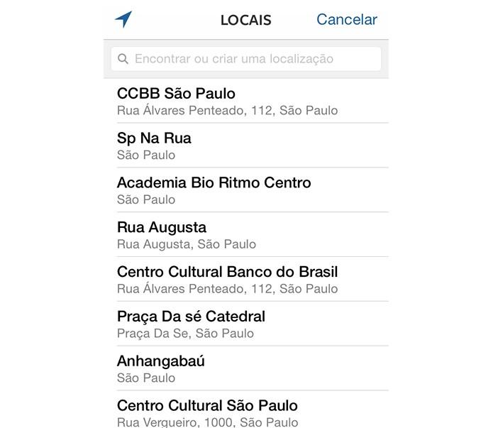 Lista de locais (Foto: Reprodução/André Sugai)