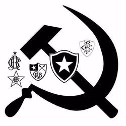 Montagem com símbolo comunista e escudos do Botafogo circula nas redes sociais