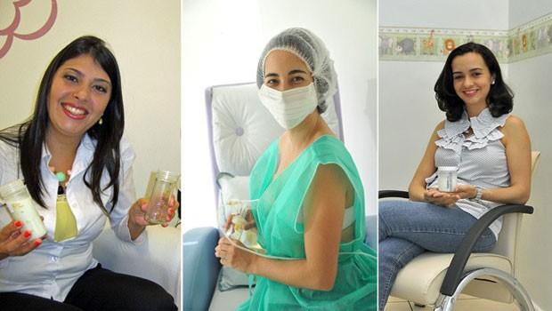 Viviane, Cintia e Maria Elisa utilizam as salas de apoio à amamentação nas empresas em que trabalham  (Foto: Pâmela Kometani/G1; Divulgação/BNDES; Divulgação/Agência Petrobras)