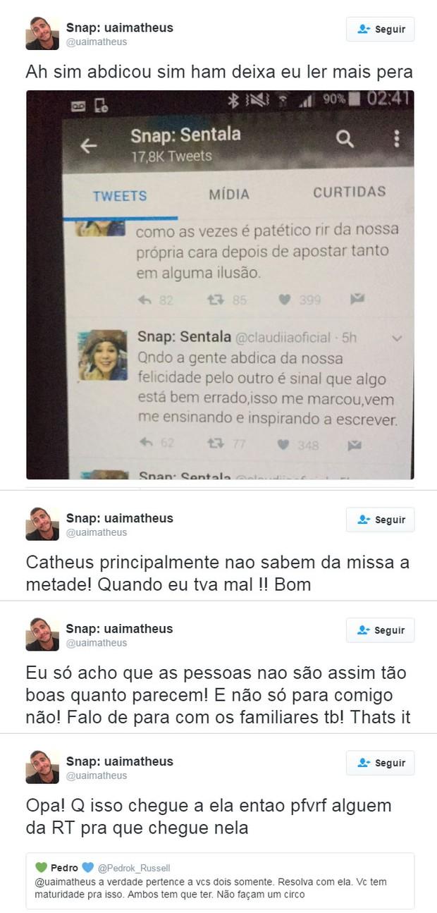 Matheus Lisboa manda indiretas para Maria Claudia (Foto: Twitter / Reprodução)