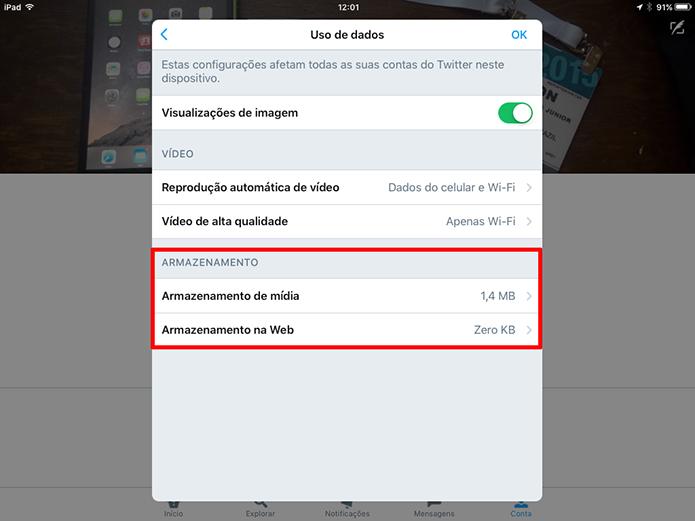 Twitter para iOS mostra estatísticas de consumo de dados por mídia e navegação Web (Foto: Reprodução/Elson de Souza)